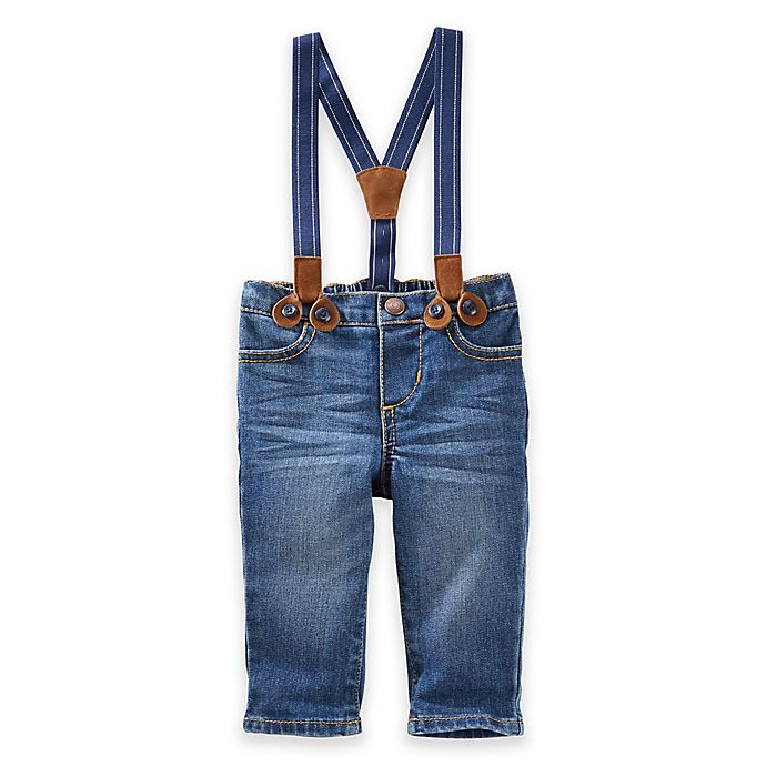 Alternate image 1 for OshKosh Baby B'gosh® Derby Wash Suspender Jeans in Blue