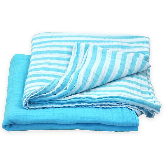 Alternate image 1 for green sprouts® by i play.® 2-Pack Cotton Stripe/Solid Muslin Swaddle Blankets in Aqua