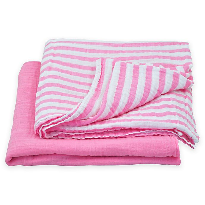 Alternate image 1 for green sprouts® by i play.® 2-Pack Cotton Stripe/Solid Muslin Swaddle Blankets in Pink