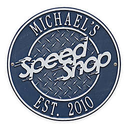 Whitehall Products 12-Inch Speed Shop Plaque in Blue/Silver