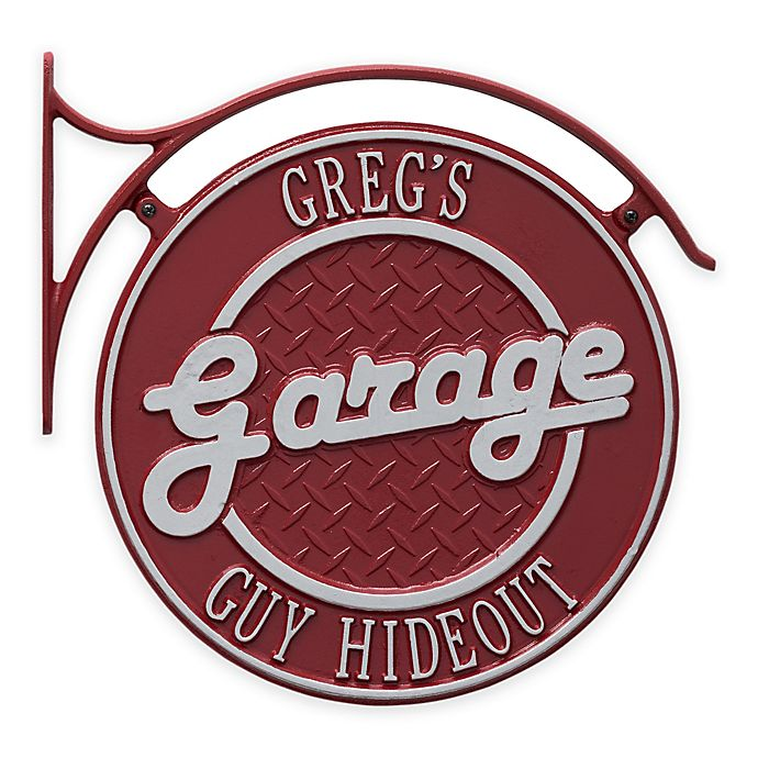 Alternate image 1 for Whitehall Products 14-Inch Hanging Garage Plaque with Bracket in Red/Silver