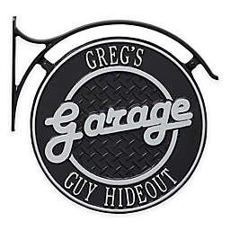 Whitehall Products 14-Inch Hanging Garage Plaque with Bracket in Black/Silver