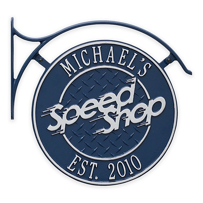 Alternate image 1 for Whitehall Products 1-inch x 13.6-Inch Hanging Speed Shop Plaque with Bracket in Blue/Silver
