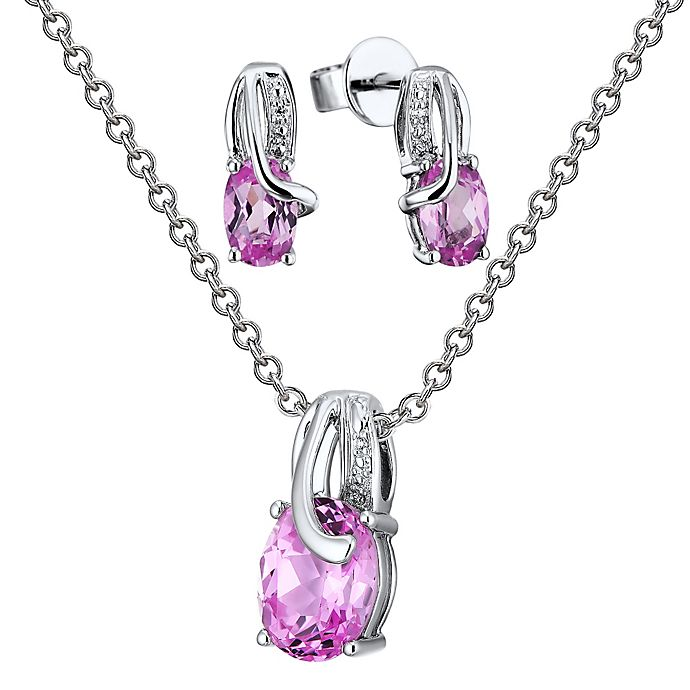 4a98348e6db5b Sterling Silver Diamond and Lab-Created Pink Sapphire Oval Stud Earrings  and Necklace Set