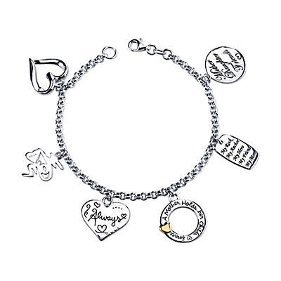 Shine Sterling Silver Mom-Themed 7.5-Inch Charm Bracelet