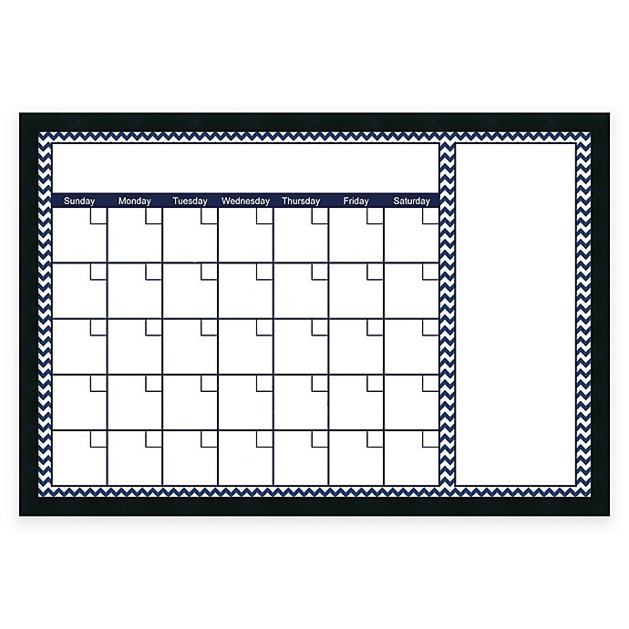 Alternate image 1 for Mezzanotte Chevron Big Dry-Erase Blank Calendar in Blue