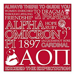 Apha Omicron Pi 16-Inch Square Canvas Wall Art