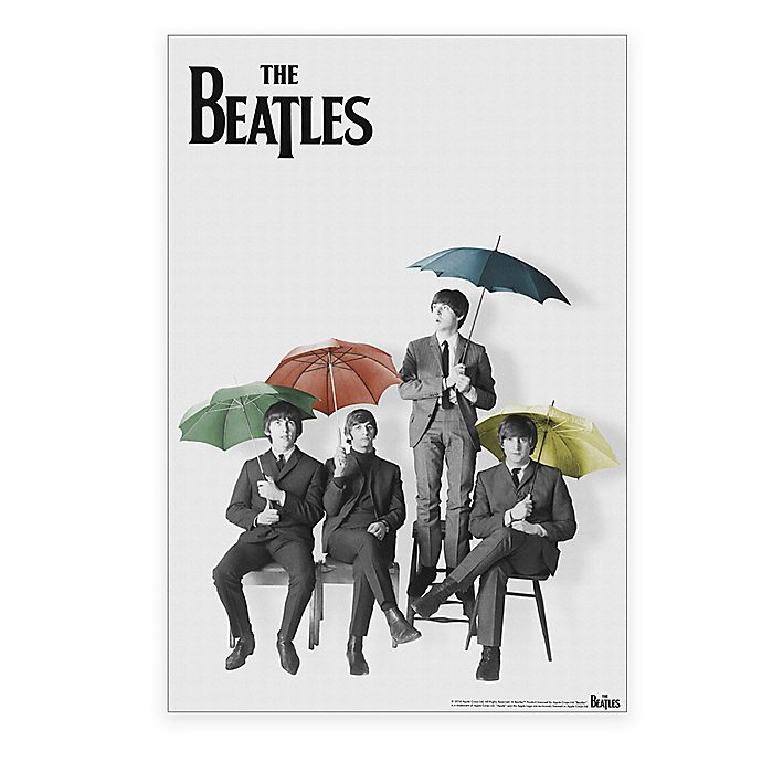 The Beatles Black and White with Color Umbrellas Canvas Wall Art ...