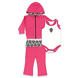 BabyVision® Yoga Sprout Size 9-12M Damask Hoodie, Bodysuit, and Pant Set in Pink/Black