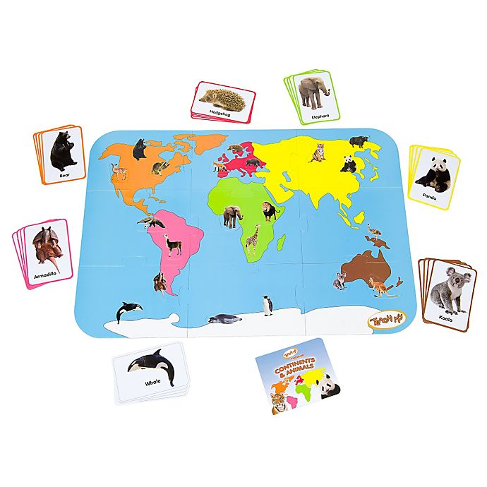 Alternate image 1 for Teach My Toddler Continents and Animals World Map 30-Piece Floor Puzzle
