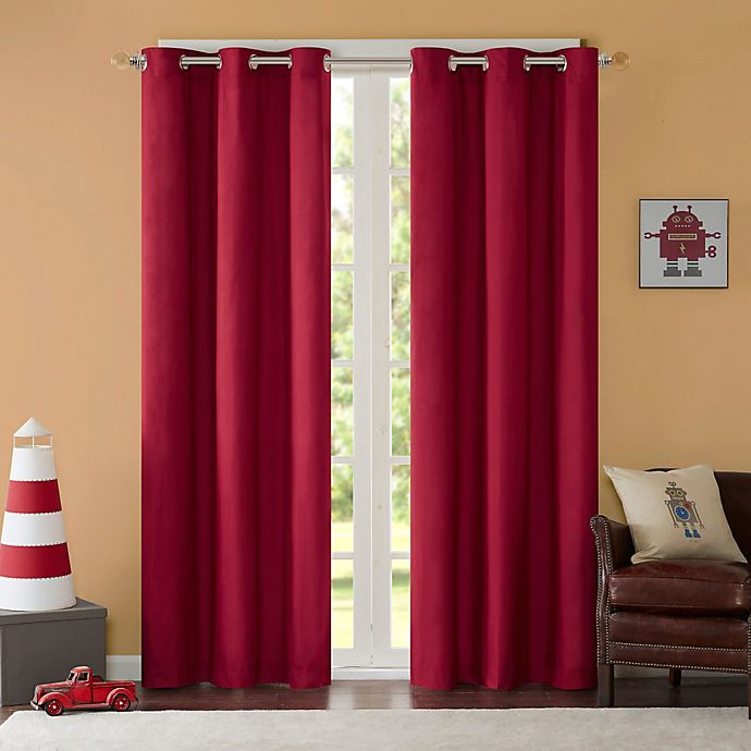 Alternate image 1 for Mi Zone Cobi 63-Inch Grommet Top Lined Window Curtain Panel Pair in Red