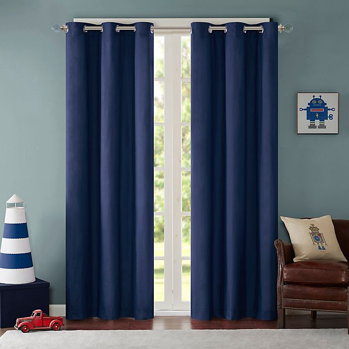 Alternate image 1 for Mi Zone Cobi 84-Inch Grommet Top Lined Window Curtain Panel Pair in Blue