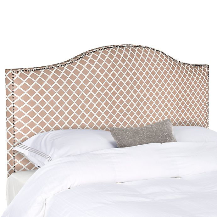 Alternate image 1 for Safavieh Connie Diagonal Plaid King Headboard in Dusty Rose/White