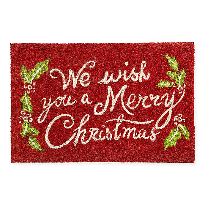 Merry Christmas Glitter 18 Inch X 28 Inch Door Mat Bed