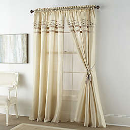 Nanshing Natalie 2-Pack 84-Inch Rod Pocket Window Curtain Panels in Beige