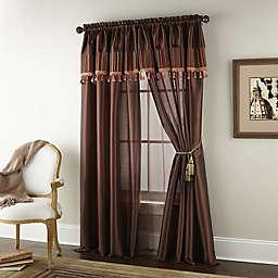 Nanshing Scarlett 2-Pack 84-Inch Rod Pocket Window Curtain Panels in Brown