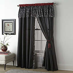 Nanshing Corinne 2-Pack 84-Inch Rod Pocket Window Curtain Panels in Black