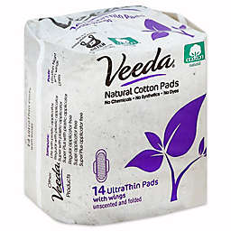 Veeda® 14-Count Ultra Thin Natural Cotton Pads with Wings