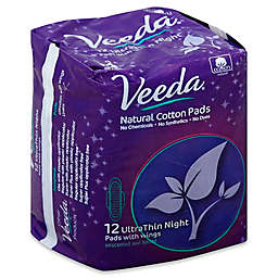 Veeda® 12-Count Ultra Thin Night Unscented Natural Cotton Pads with Wings
