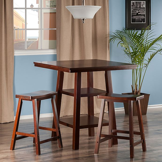 Prime The Winsome Trading Orlando 3 Piece High Table And Saddle Seat Stool Set Pub Set In Walnut Onthecornerstone Fun Painted Chair Ideas Images Onthecornerstoneorg