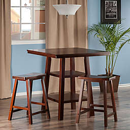 The Winsome Trading Orlando 3-Piece High Table and Saddle Seat Stool Set Pub Set in Walnut