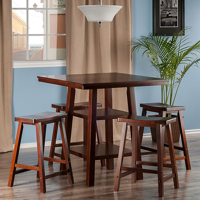 Alternate image 1 for The Winsome Trading Orlando 5-Piece High Table and Saddle Seat Stool Pub Set in Walnut