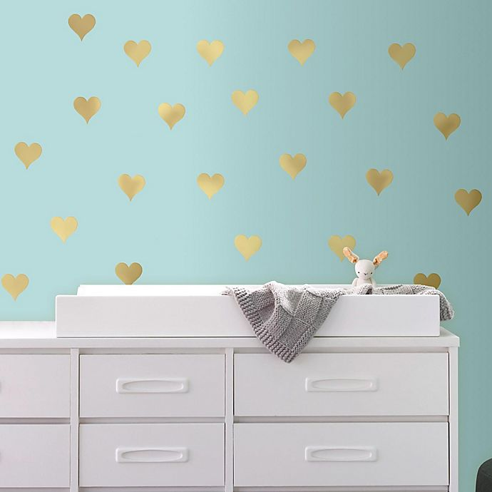 Alternate image 1 for Gold Heart Peel and Stick Wall Decals