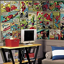 Marvel Comic Panel XL Chair Rail Prepasted 10.5-Foot x 6-Foot Mural