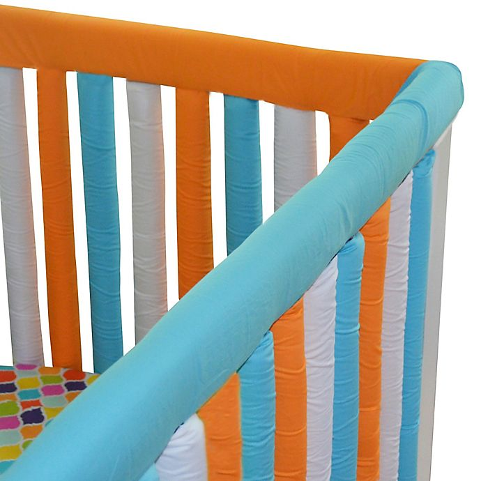 Alternate image 1 for Go Mama Go 52-Inch x 12-Inch Cotton Couture Teething Guards in Orange/Aqua