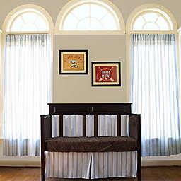 Go Mama Go® Designs Pin Stripe Window Panels in Chocolate/Blue (Set of 2)