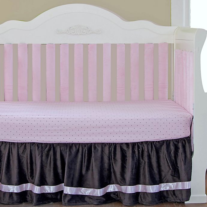 Alternate image 1 for Go Mama Go® Designs Luxurious Minky/Satin Dust Ruffle in Chocolate/Pink