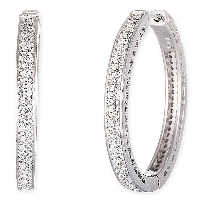 917dcc3df 18K White Gold-Plated Sterling Silver Cubic Zirconia 2-Row 1-Inch Huggie  Hoop Earrings