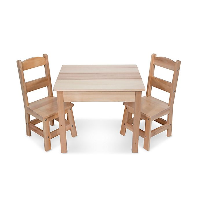 Alternate image 1 for Melissa and Doug® Wooden 3-Piece Table and Chair Set