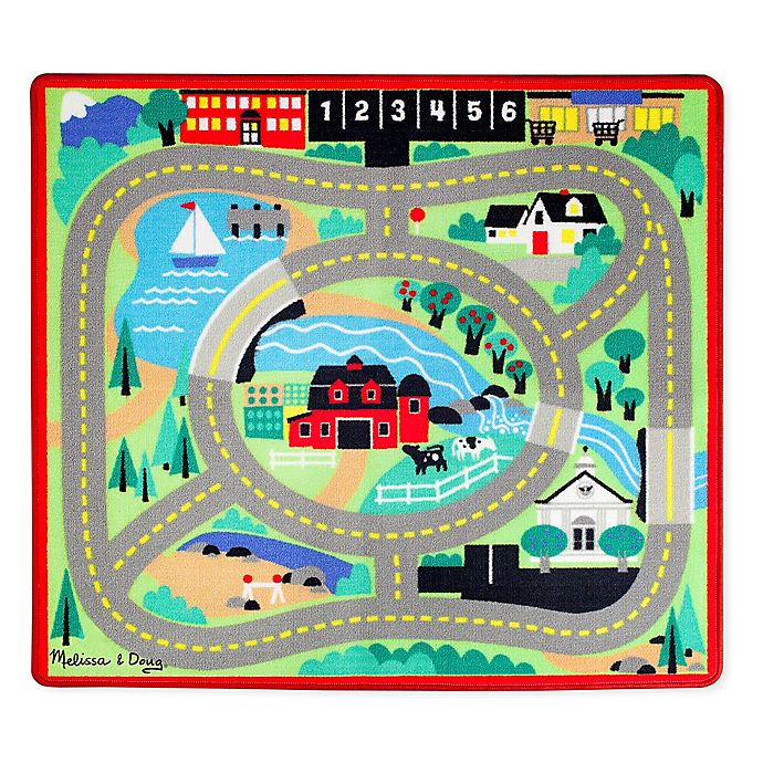 Alternate image 1 for Melissa and Doug Round The Town 39-Inch x 36-Inch Rug and Car Set