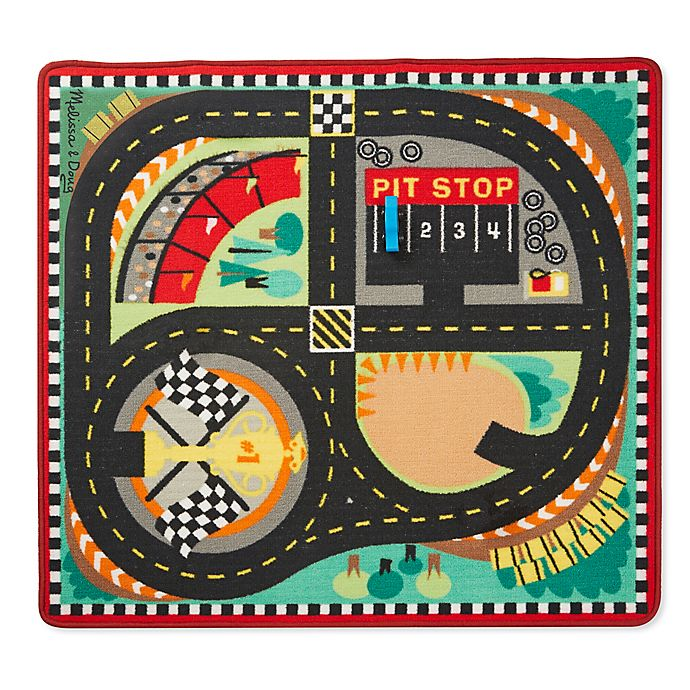 Alternate image 1 for Melissa and Doug Speedway 39-Inch x 36-Foot Rug and Car Set