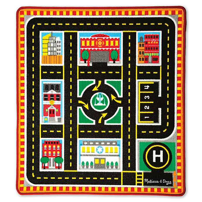Alternate image 1 for Melissa and Doug Round The City Rescue 39-Inch x 36-Foot Rug and Car Set