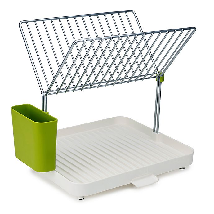 Alternate image 1 for Joseph Joseph® 2-Tier Dish Drainer and Y-Rack in Green