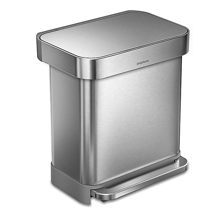 Alternate image 1 for simplehuman® 30-Liter Rectangular Step Trash Can with Liner Pocket in Brushed Stainless Steel
