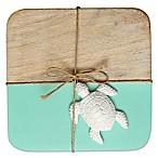 Thirstystone® Colorblock Mango Wood Coasters (Set of 4) in Aqua