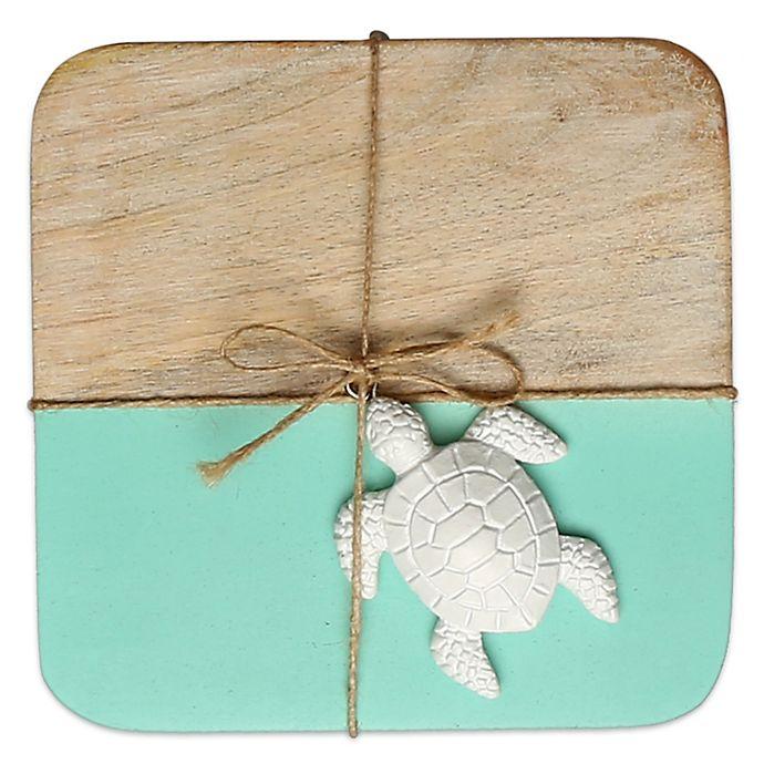 Alternate image 1 for Thirstystone® Colorblock Mango Wood Coasters (Set of 4) in Aqua