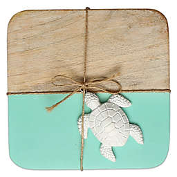 Thirstystone® Colorblock Mango Wood Coasters (Set of 4) in Aqua
