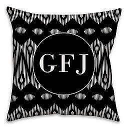 Boho Tribal Square Throw Pillow in Black/White