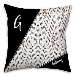 Boho Tribal Diamond Dotted Square Throw Pillow in Black/White