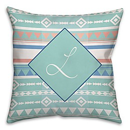 Boho Tribal Square Throw Pillow in Mint/Coral