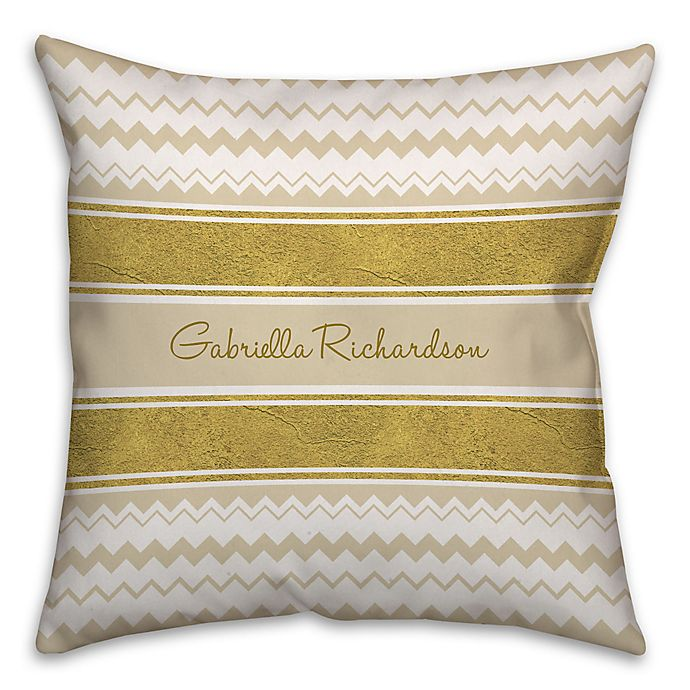 Alternate image 1 for Chevron and Ribbon 16-Inch Square Throw Pillow in Gold/White