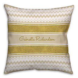 Chevron and Ribbon 16-Inch Square Throw Pillow in Gold/White