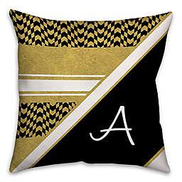Chevron Checkerboard Square Throw Pillow in Black/Gold