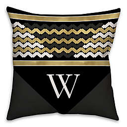 Chevron Stack Square Throw Pillow in Black/Gold