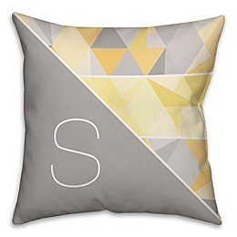 Muted Geometric Square Throw Pillow in Grey/Yellow