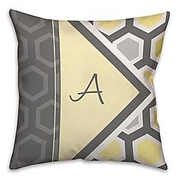 Geometric Hexagon Throw Pillow in Yellow